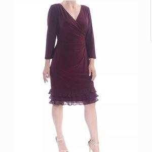Lauren Ralph Lauren Maroon Ruffled Faux Wrap Dress